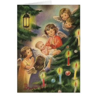 Carte de Noël italienne vintage de Jésus de bébé