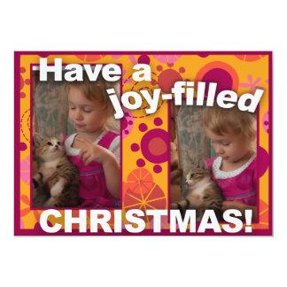 Carte de Noël mignonne de photo du rouge deux de Carton D'invitation 12,7 Cm X 17,78 Cm
