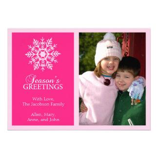 Carte de Noël paisible de flocon de neige (roses i Invitations Personnalisées