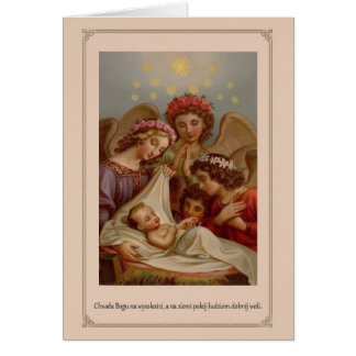 Carte de Noël religieuse polonaise de cru