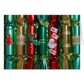 Carte de Noël rouge de vert et d'or