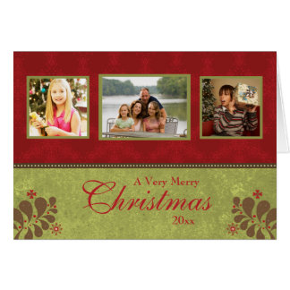 Carte de Noël verte rouge élégante de photo de la
