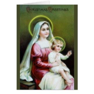 Carte de Noël victorienne de Jésus de Mary et de