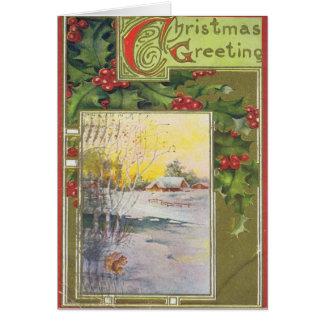Carte de Noël vintage avec le houx