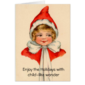 Carte de Noël vintage d'art de merveille enfantine
