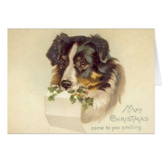 Carte de Noël vintage de border collie