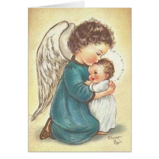 Carte de Noël vintage de Jésus d ange et de bébé