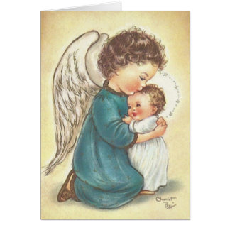 Carte de Noël vintage de Jésus d'ange et de bébé