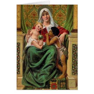 Carte de Noël vintage de Jésus de bébé de Madonna