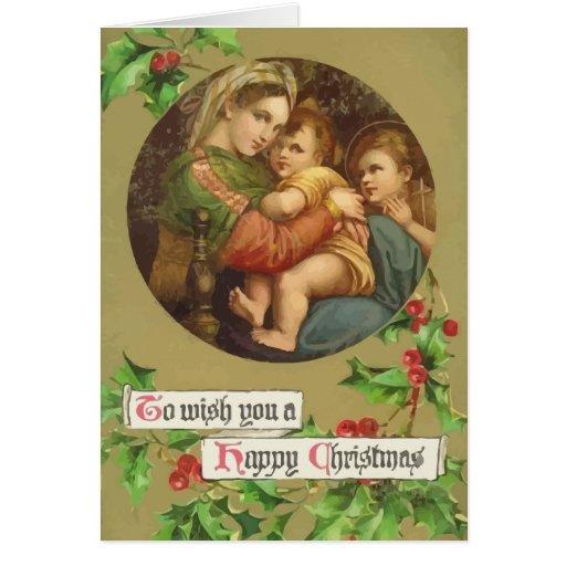 Carte de Noël vintage de Mary et de Jésus