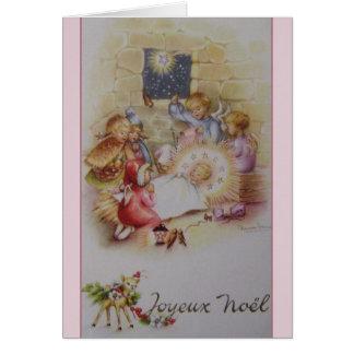 Carte de Noël vintage de nativité de Joyeux Noël