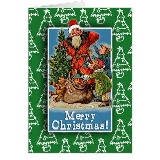Carte de Noël vintage mignonne d image de Père