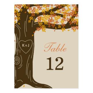 Carte de nombre de Tableau de mariage de automne