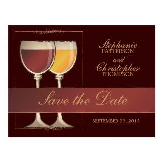 Carte de nombre de Tableau en verre de vin rouge e Carte Postale
