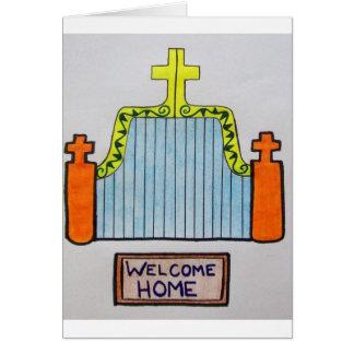 Carte de note à la maison bienvenue