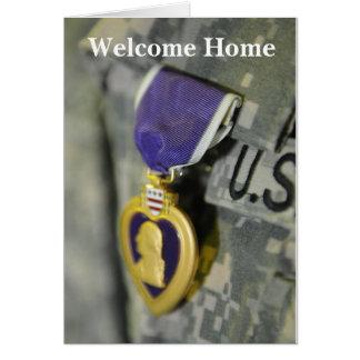 Carte de note à la maison bienvenue de soldat