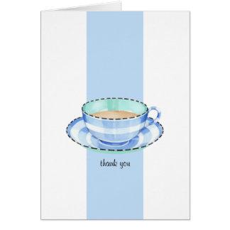 Carte de note bleue blanche de Merci de tasse de t