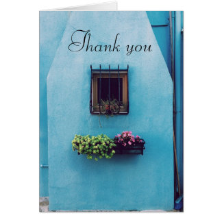 Carte de note bleue de Merci de boîte de fleur de