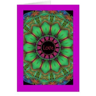 Carte de note d'amour avec la conception de mandal