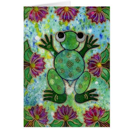 Carte de note de grenouille de nénuphar