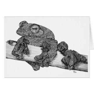 Carte de note de grenouille de vol