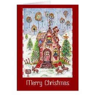 Carte de note de maison de Noël