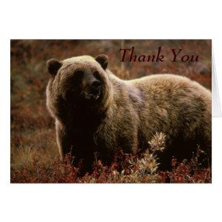 Carte de note de Merci d'ours gris