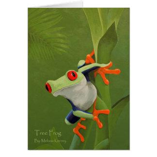 Carte de note de peinture de grenouille d'arbre