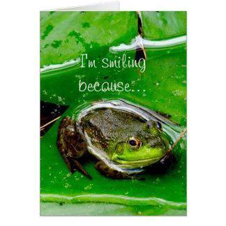 Carte de note de sourire de grenouille