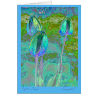 Carte de note de tulipe d'Aqua
