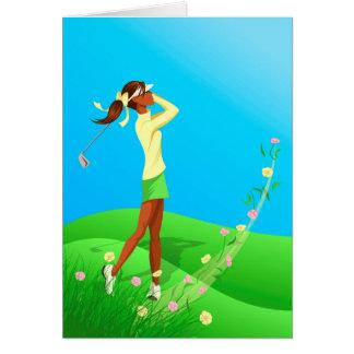 Carte de note femelle noire de ressort de golfeur