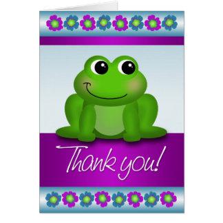 Carte de note florale colorée de Merci de grenouil