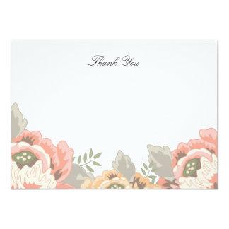 Carte de note florale vintage de Merci Carton D'invitation 11,43 Cm X 15,87 Cm