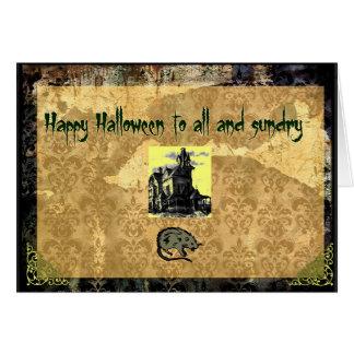 Carte de note hantée sale de Halloween de maison
