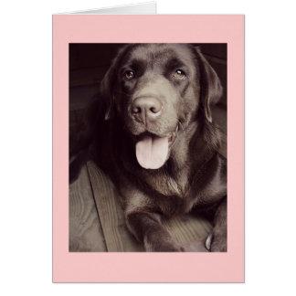 Carte de note noire et blanche de chien de