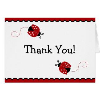 Carte de note noire et rouge de Merci de coccinell
