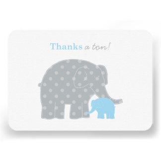 Carte de note plate de Merci d éléphant bleu et Faire-part Personnalisé