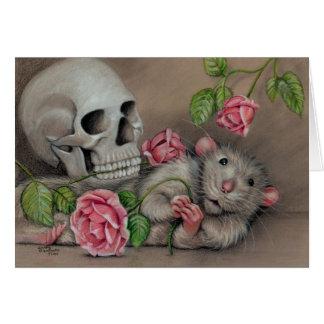 Carte de note rose de crâne de rat