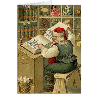 Carte de note vintage de liste de Noël de Père