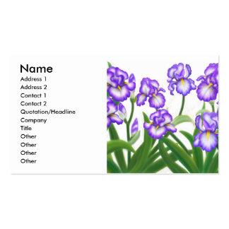 Carte de profil de jardin d'iris carte de visite