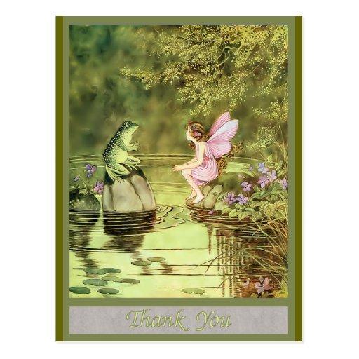 Carte de remerciements avec la fée et la grenouill cartes postales