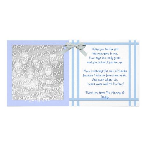 Carte de remerciements bleu de baby shower de bébé photocartes personnalisées