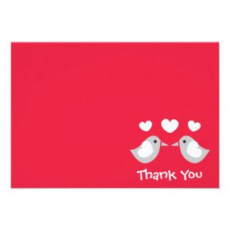 Carte de remerciements d inséparables rouge faire-part personnalisables