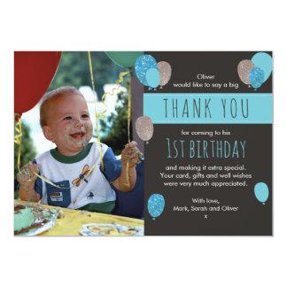 Carte de remerciements d'anniversaire de ballon de carton d'invitation  12,7 cm x 17,78 cm