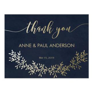 Carte de remerciements de guirlande d'or carte postale