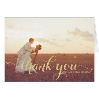 Carte de remerciements de mariage de manuscrit de