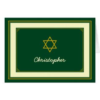 Carte de remerciements de Mitzvah de barre d'or de