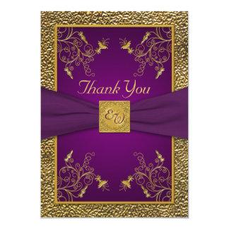 Carte de remerciements de monogramme de pourpre carton d'invitation  12,7 cm x 17,78 cm