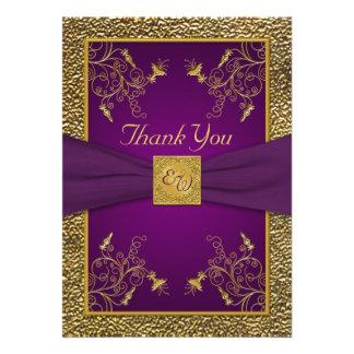 Carte de remerciements de monogramme de pourpre ro bristol