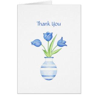 Carte de remerciements de tulipes bleues